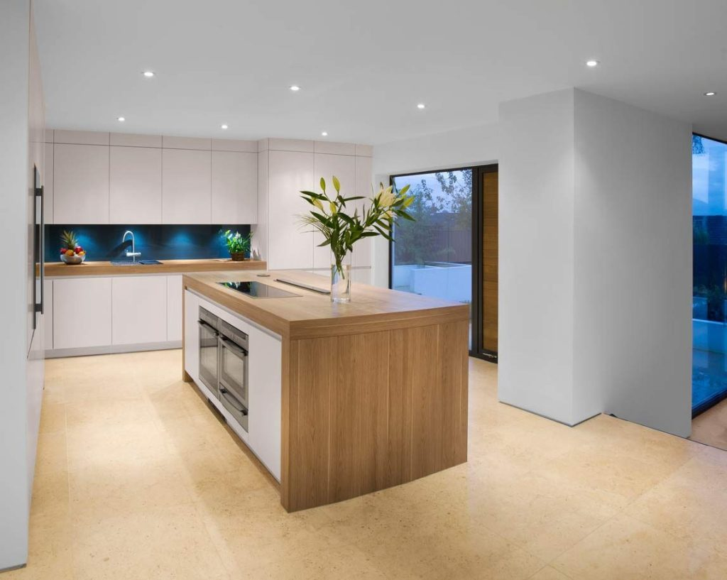 modern wooden kitchen work surface