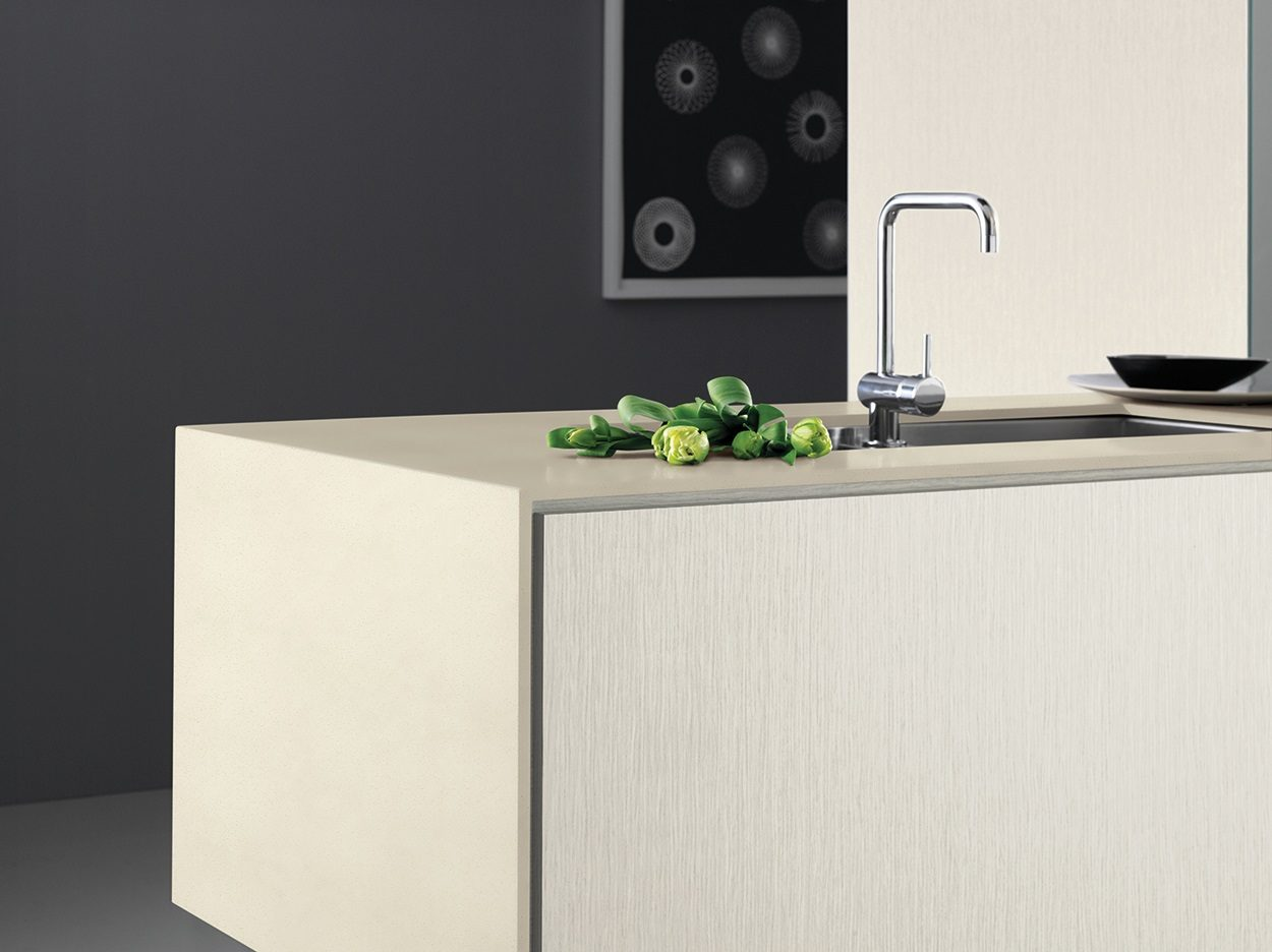 Laminex Solid Surface Waterfall kitchen island in Champagne