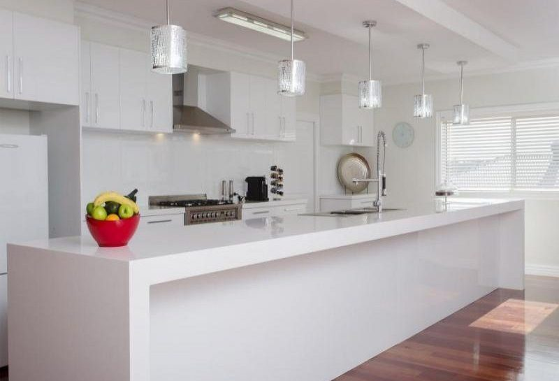 alpine white kitchen benchtop and island