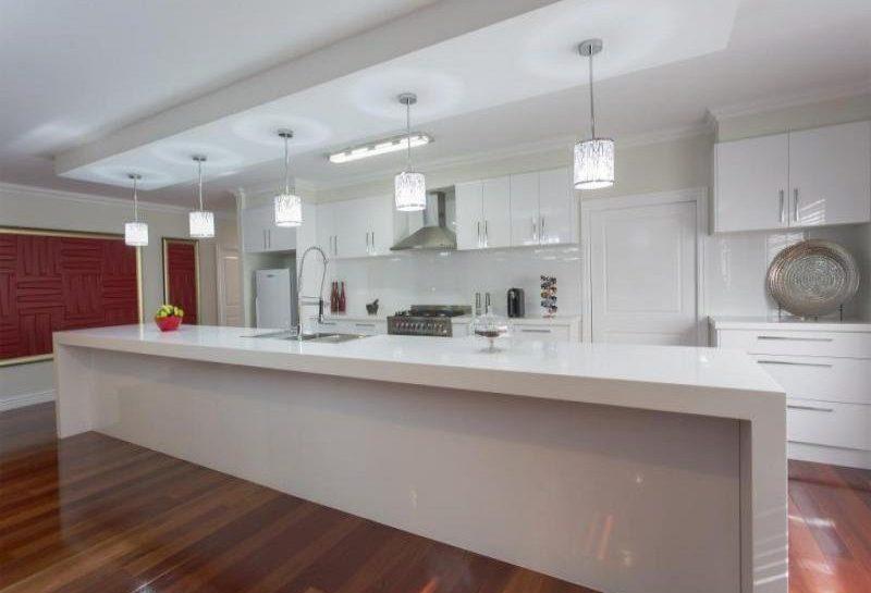 alpine white kitchen benchtop and island detail