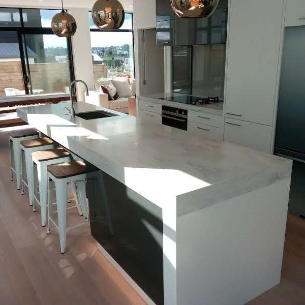 corian kitchen island in raincloud